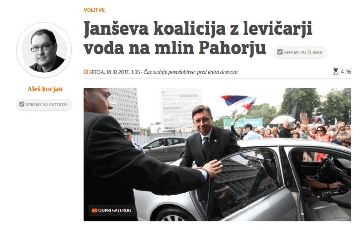 Aleš Kocjan levičarji Pahor pismo