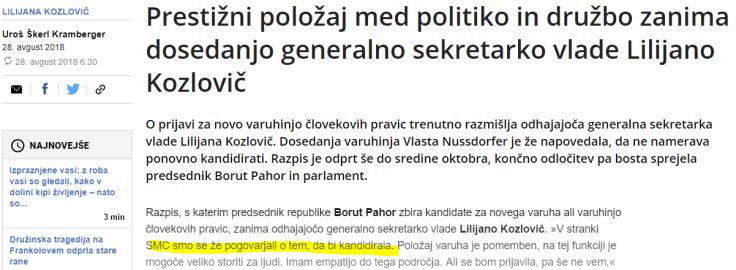 Kozlovič SMC varuhinja človekovih pravic dnevnik