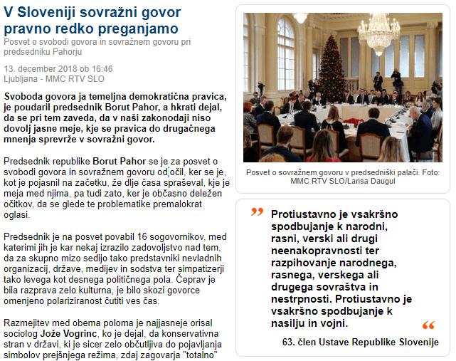 sovražni govor Pahor posvet