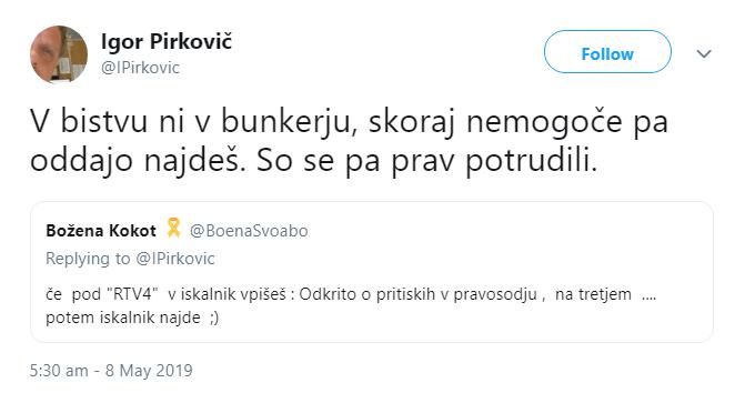 Pirkovič tvit bunker