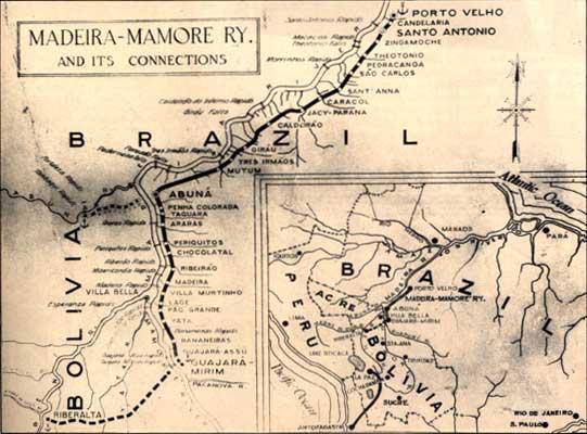 Antigo mapa com as conexões da Estrada de Ferro Madeira-Mamoré