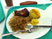 Local Bajan cuisine - Fried chicken, rice and coo coo