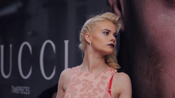 Female model pink dress fashion videographer leeds yorkshire