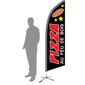 drapeau pizza au feu de bois noir