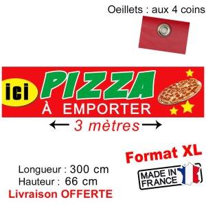 banderole pizza emporter 3m