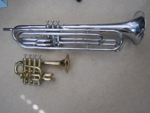 Getzen trumpets, piccolo and bass