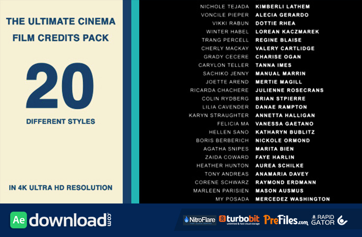 20 Cinema Film Credits Pack Free Download After Effects Templates