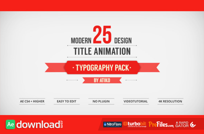 25 Design Titles Animation - Typography Pack Free Download After Effects Templates