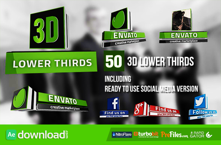 3D Lower Thirds (50 Items) Free Download After Effects Templates