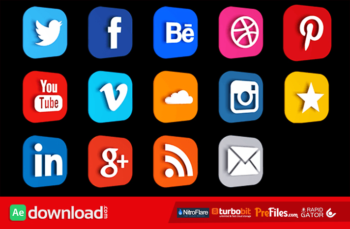 Social Logos and Lower Third Free Download After Effects Templates