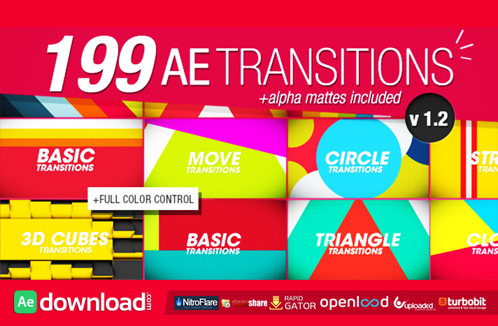 199 Transitions Pack v1.2 free after effects templates