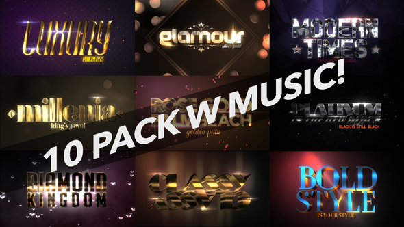 VIDEOHIVE 4K LUXURY 10 LOGO TEXT INTRO PACK