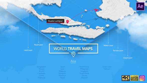 VIDEOHIVE WORLD TRAVEL MAPS – ASIA