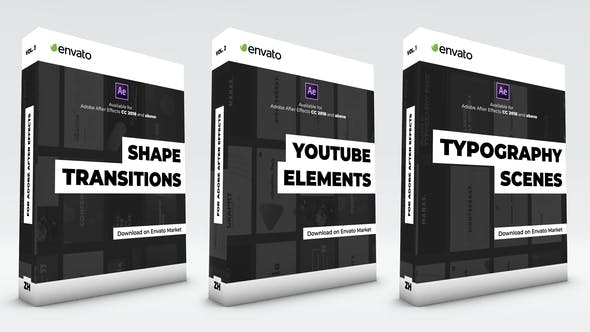 Typography Scenes, Lower Thirds, YouTube Kit and Shape Transitions