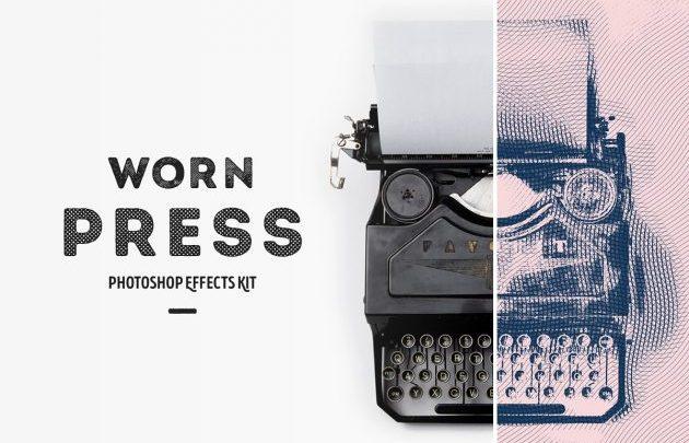Worn Press Photoshop Effects