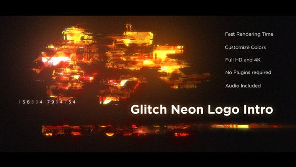 Glitch Neon Logo Intro