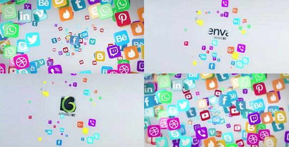 Social Media Flying Icons Logo Reveal