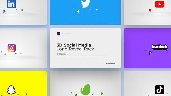 3D Social Media Logo Reveal Pack