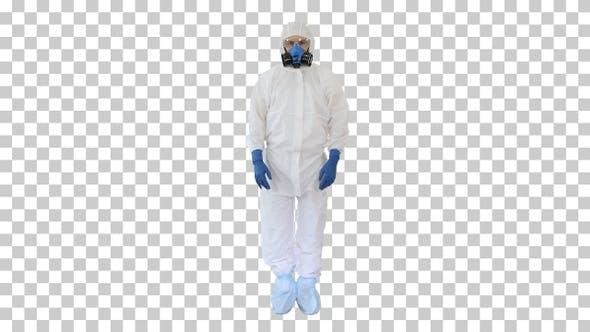 Doctor Wearing Protective Hazard Suit