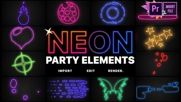 Neon Party Elements MOGRT