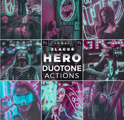 Duotone – Neon Style Actions Photoshop