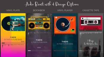 Audio React Spectrum Visualizer with Boombox, Cassette Tape, Vinyl Plate and Vinyl Player Equalize