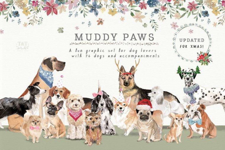 CreativeMarket Muddy Paws – Dog Lover Graphics 2053296