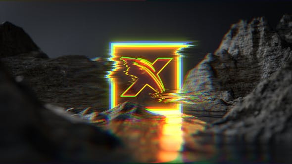 Neon Glitch Water Terrain Logo