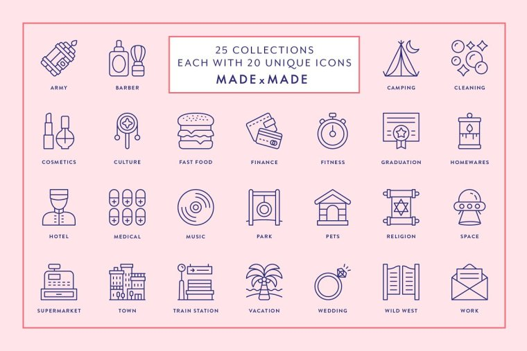 CreativeMarket Line Icons – Mega Bundle Vol 3 1393421