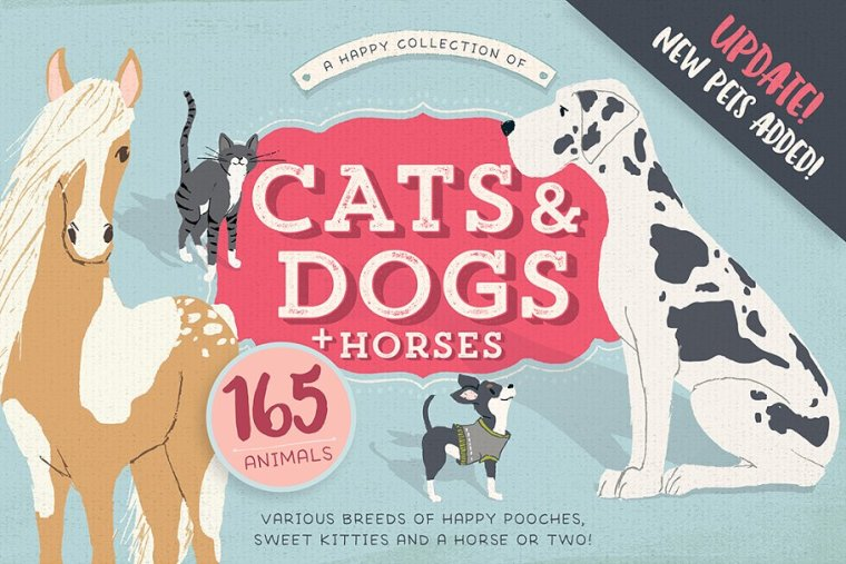 Cats, Dogs & Horses 120+ Pets