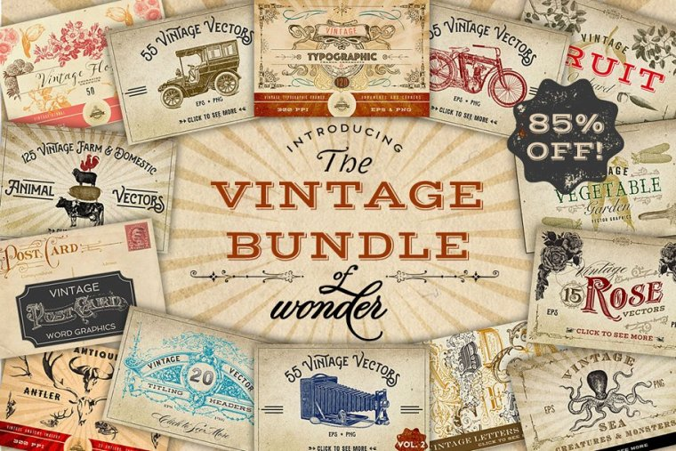 CreativeMarket Vintage Bundle of Wonder