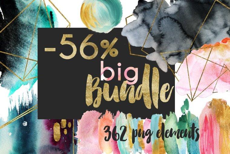 CreativeMarket Watercolor Composition! Big Bundle