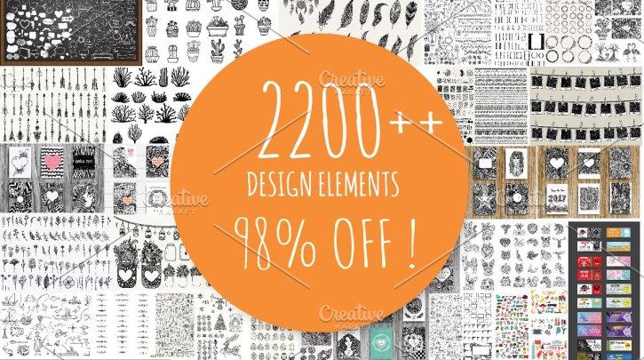 CreativeMarket 2200++ Design Elements