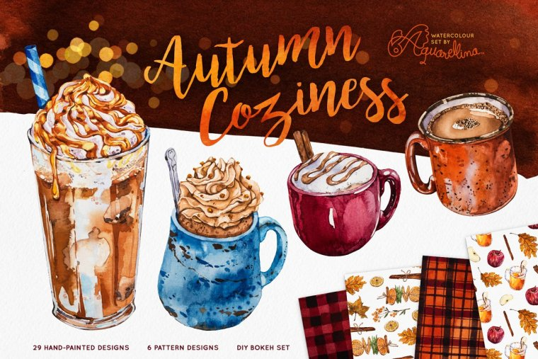 CreativeMarket Autumn Coziness – Watercolour Set