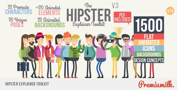 Hipster Explainer Toolkit & Flat Animated Icons Library