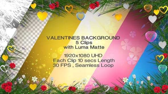 Valentines Backgrounds - 5 clips with Luma Matte