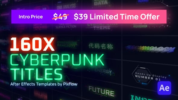 Videohive Cyberpunk Titles Lowerthirds and Backgrounds