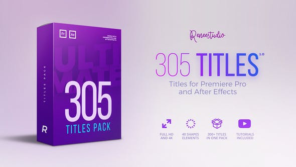 VideoHive 305 Titles Ultimate Pack for Premiere Pro & After Effects 21825597