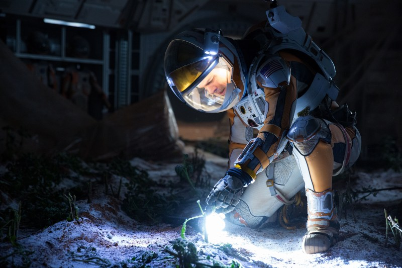 Matt Damon portrays an astronaut who draws upon his ingenuity to subsist on a hostile planet. (Photo by Giles Keyte)