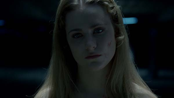 "Evan Rachel Wood as host Dolores Abernathy during an interrogation scene while under the ""freeze all motor functions"" command. The actress held still as much as possible, but was aided in terms of small movements and eye blinks by the visual effects team. (Photo credit: HBO)"