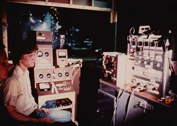 Scott Squires, VES, oversees the Mothership miniature (in background) and the electronics required to operate the motion-control unit.