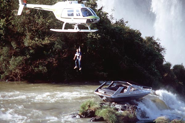 James Bond's boat jammed on a rock at the top of the Iguazu Falls in Brazil. The boat got stuck while filming on Moonraker and somehow it fell to Richardson, the FX Supervisor, to try and find a way to shift it. Richardson says the worst part was listening to the stitches on his harness breaking while he was dangling over the boat. Fortunately, John Morris, part of the FX team, was on the helicopter winch and he managed get Richardson up into the helicopter before anything broke completely. Richardson says they did get rid of the boat in the end so that they could continue filming.