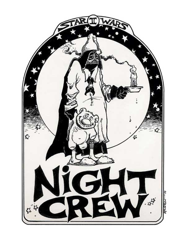 "A t-shirt Ralston drew for everyone on the night crew on Star Wars: Episode V - The Empire Strikes Back. Says Ralston: ""There were only so many camera systems at ILM, so our group of folks shot all night... then we handed over the equipment to the day crew. I bet the day crew never got a shirt!"""