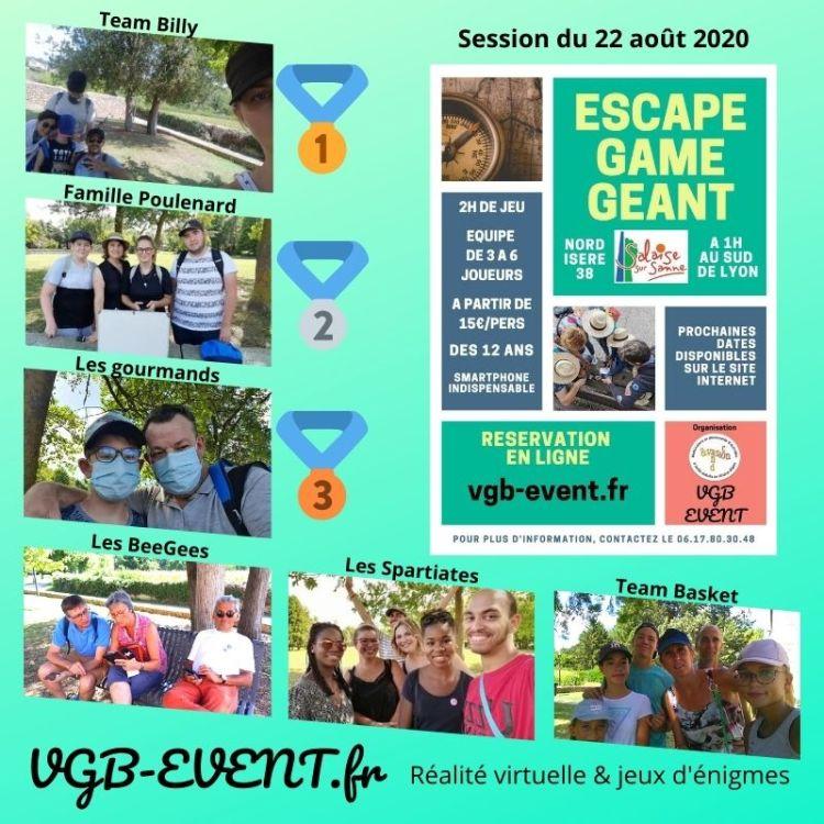 Classement du samedi 22 août 2020 Escape Game Géant à Salaise Sur Sanne 38150