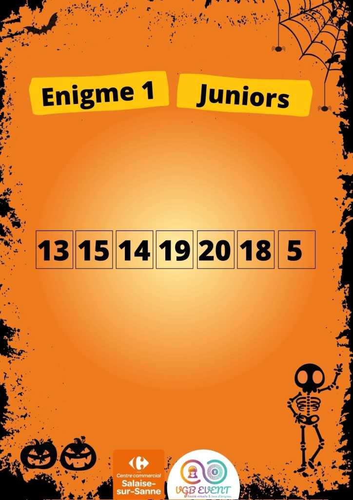 Halloween Enigme 1 juniors vgb event Carrefour Salaise
