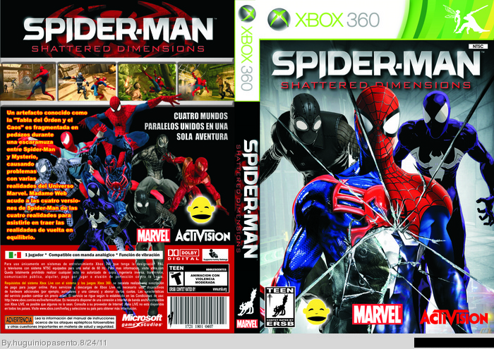 Spider Man Shattered Dimensions Xbox 360 Box Art Cover By