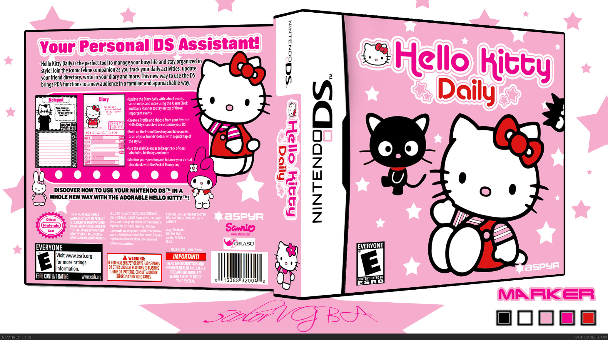 Hello Kitty Daily Nintendo DS Box Art Cover By MARKER