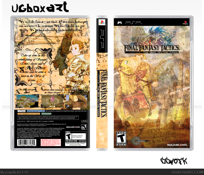 Final Fantasy Tactics War Of The Lions PSP Box Art Cover