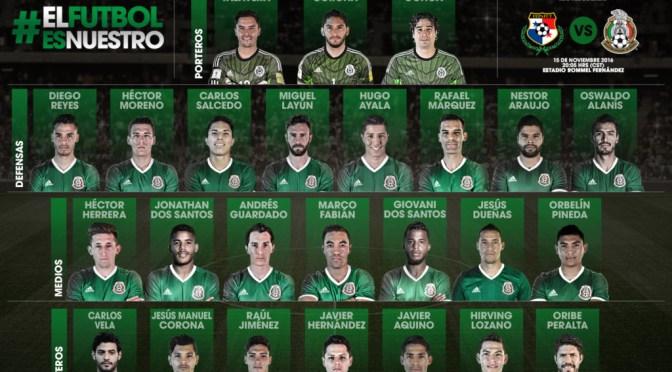 Convocatoria de México para enfrentarse ante Estados Unidos y Panamá en la Eliminatoria Mundialista Rumbo a Rusia 2018