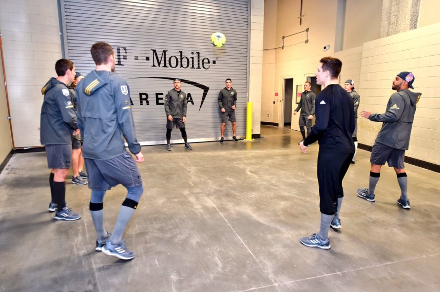Vegas Golden Knights getting ready for a game with a routine game of Sewer Ball.